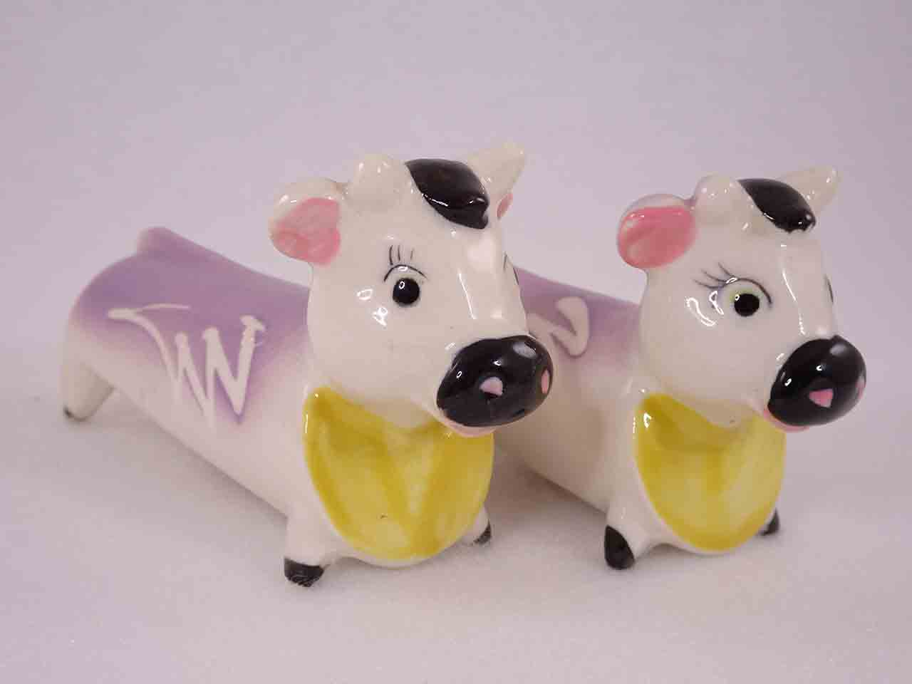 Longer Animals with White Squiggly Lines salt and pepper shakers - cows