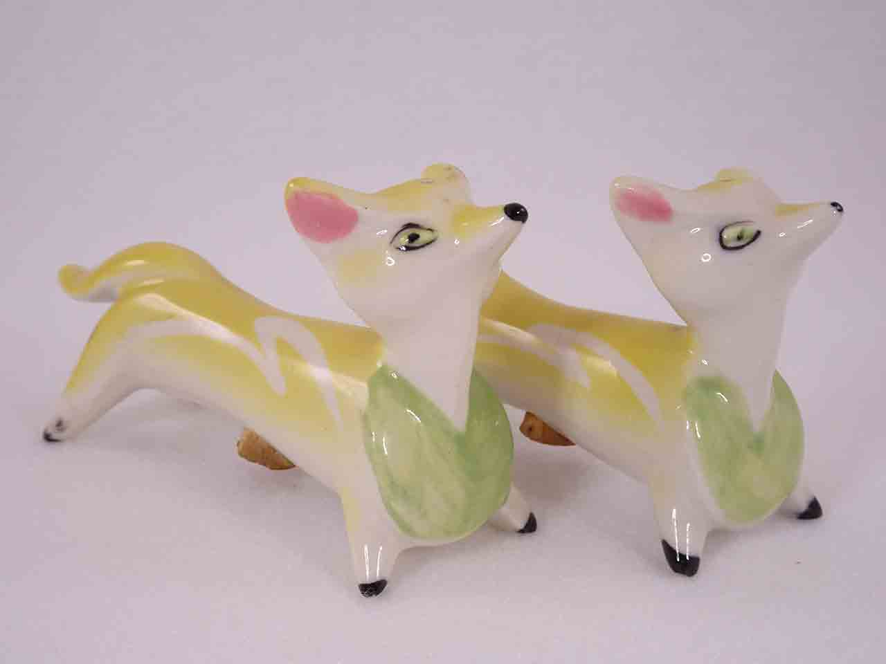 Longer Animals with White Squiggly Lines salt and pepper shakers - fox