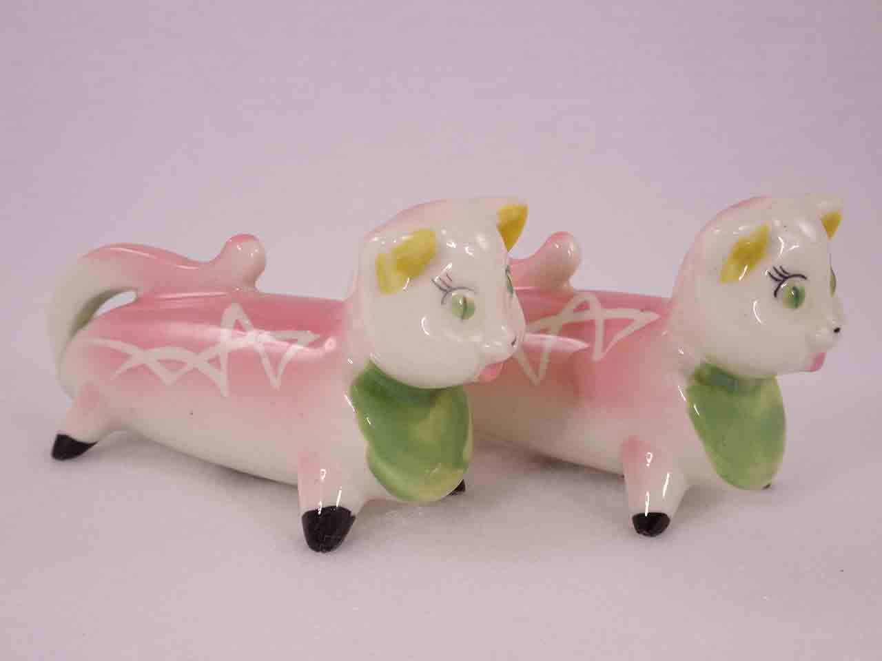 Longer Animals with White Squiggly Lines salt and pepper shakers - cats